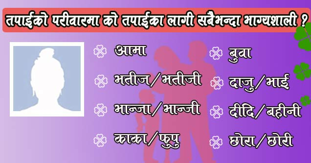 Which member in your family is luckiest for you?. This image may contain a user profile picture and app result which is generated by well finger app. Refresh the page if you do not see any picture.